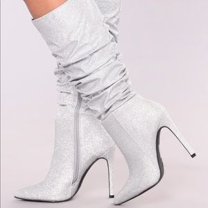 Fashion Nova Bella Heel Boot Silver (Price Firm)